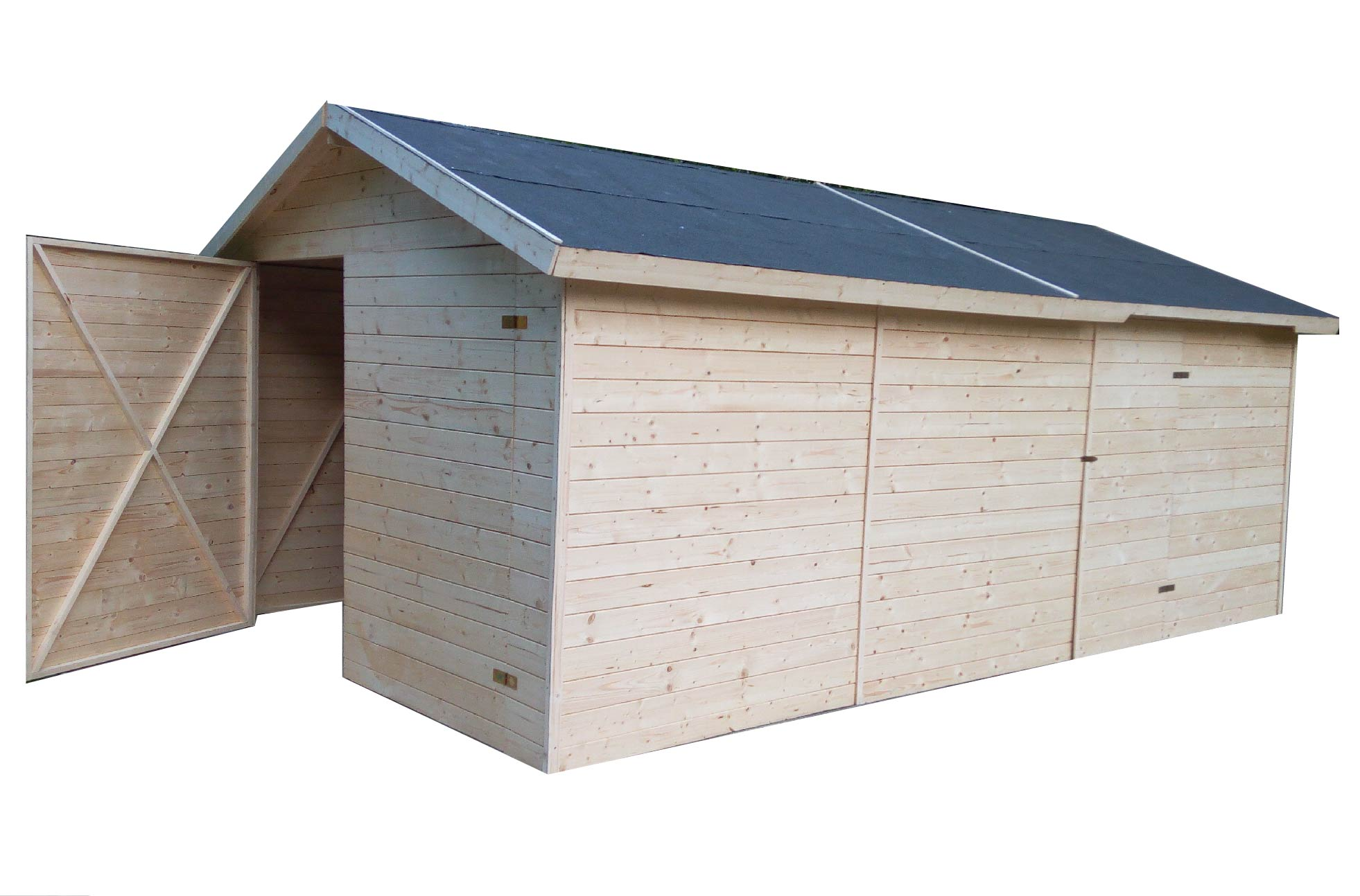 carports und garagen garage aus holz 3 3x4 8m 19mm cadema g nstigste gartenh user und. Black Bedroom Furniture Sets. Home Design Ideas