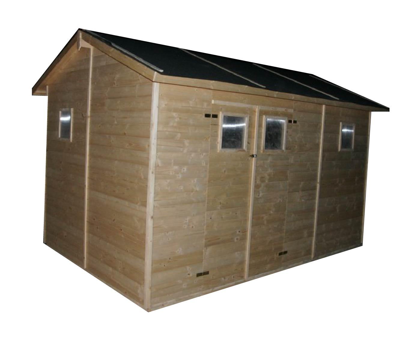 gartenh user bis 12 m2 gartenhaus aus holz 3 3m x 3 9m 19mm mit fenstern denia ger tehaus. Black Bedroom Furniture Sets. Home Design Ideas