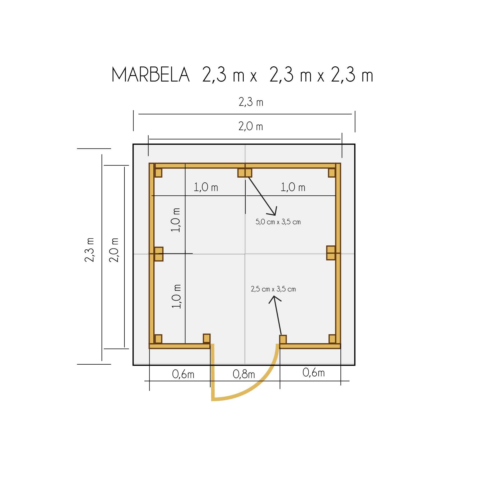 gartenh user bis 4 m2 gartenhaus aus holz 2 3m x 2 3m 19mm mit fenster marbela. Black Bedroom Furniture Sets. Home Design Ideas