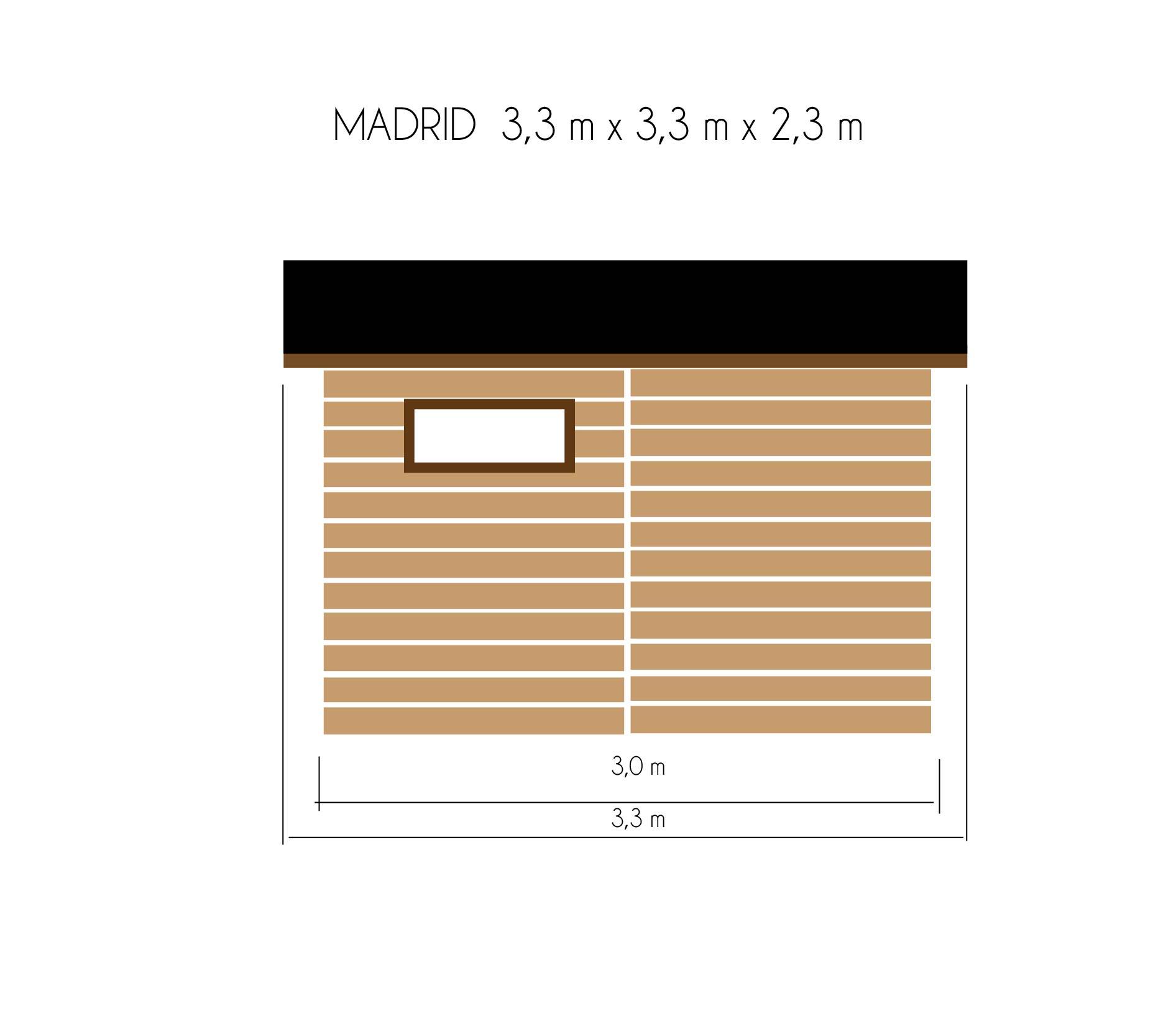 gartenh user bis 12 m2 gartenhaus aus holz 3 3m x 3 3m 19mm mit fenstern madrid. Black Bedroom Furniture Sets. Home Design Ideas